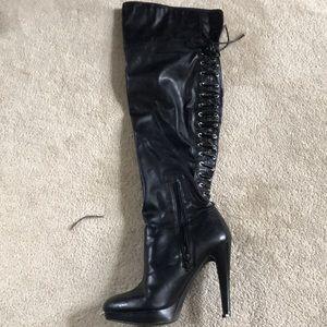 Over the knee corset back platform boots